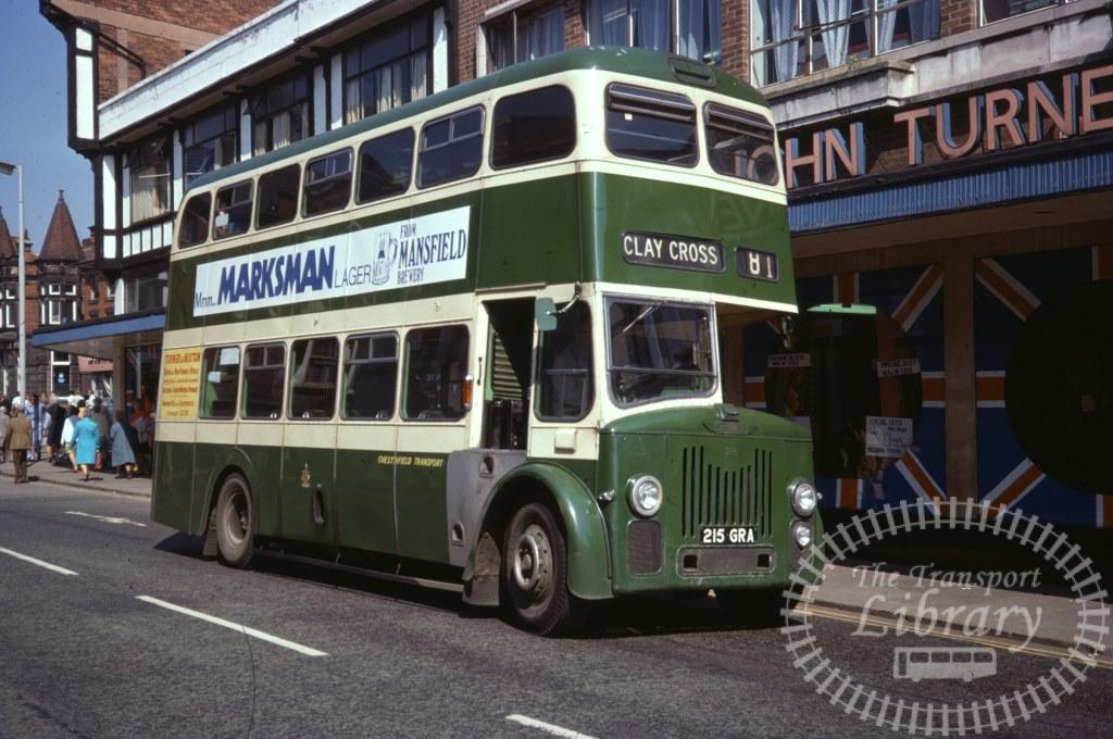 Chesterfield Transport Leyland Titan PD2/80 215 215GRA in 1977 on route 81 - 28/05/1977 - Ron Wellings