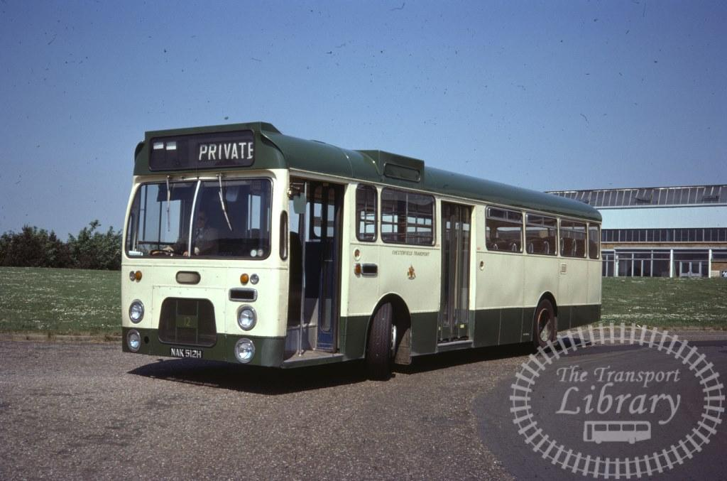 Chesterfield Transport Leyland Leopard 12 NAK512H in 1977 on route Unknown - 28/05/1977 - Ron Wellings