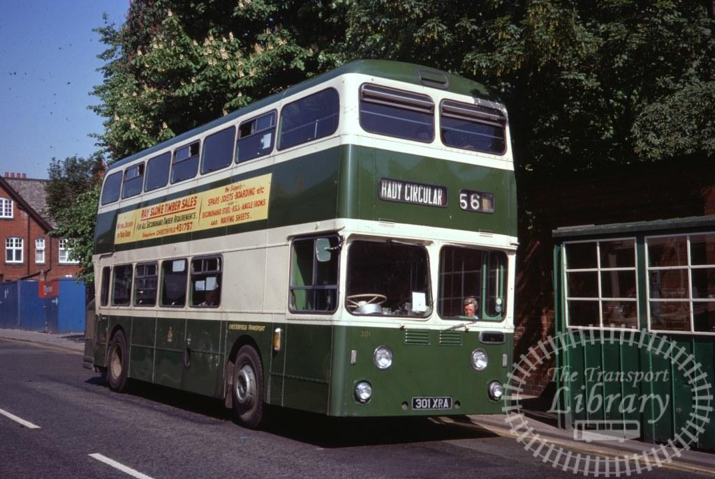 Chesterfield Transport Daimler Fleetline 301 301XRA in 1977 on route 56 - 28/05/1977 - Ron Wellings