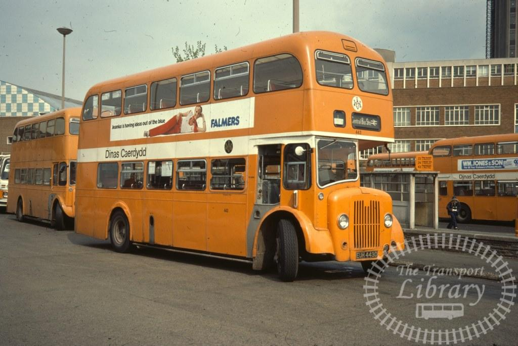 City of Cardiff Transport Guy Arab V 443 EUH443D in 1977 on route Unknown - 04/05/1977 - Ron Wellings
