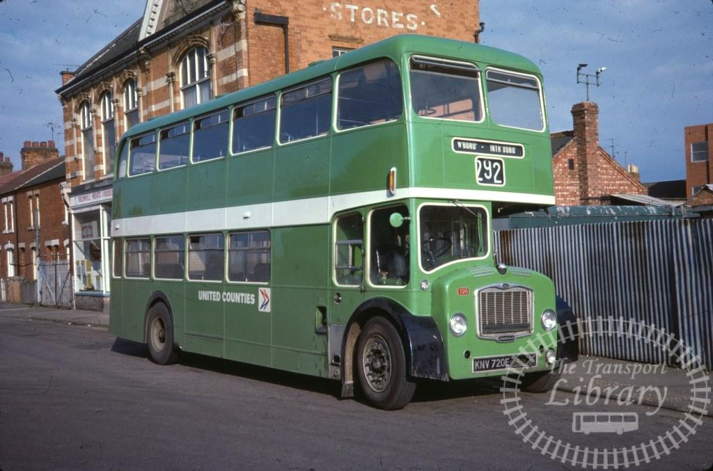 United Counties Bristol Lodekka 720 KNV720E in 1978 on route 292 - 17/08/1978 - Ron Wellings