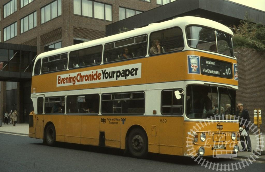 Tyne and Wear Transport Leyland Atlantean 539 WVK539R in 1979 on route 40 - Ron Wellings