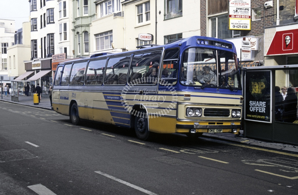 Hastings & District Leyland PSU3C 138 OKE138P  at Hastings  in 1987 - Oct - Roy Marshall