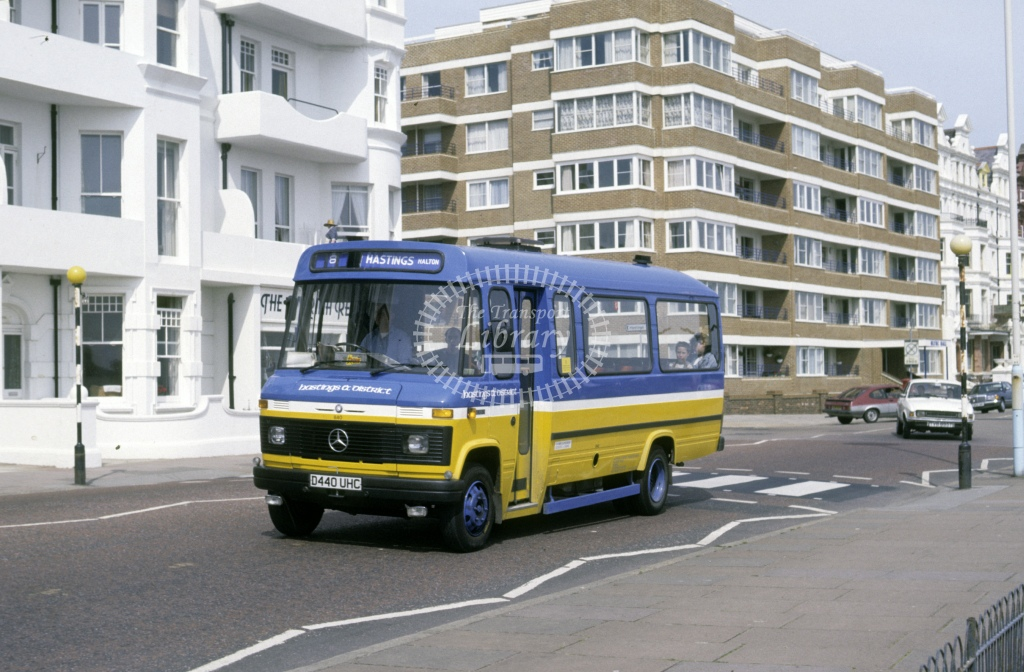Hastings & District Mercedes L608D 840 D440UHC  at Bexhill  in 1987 - May - Roy Marshall