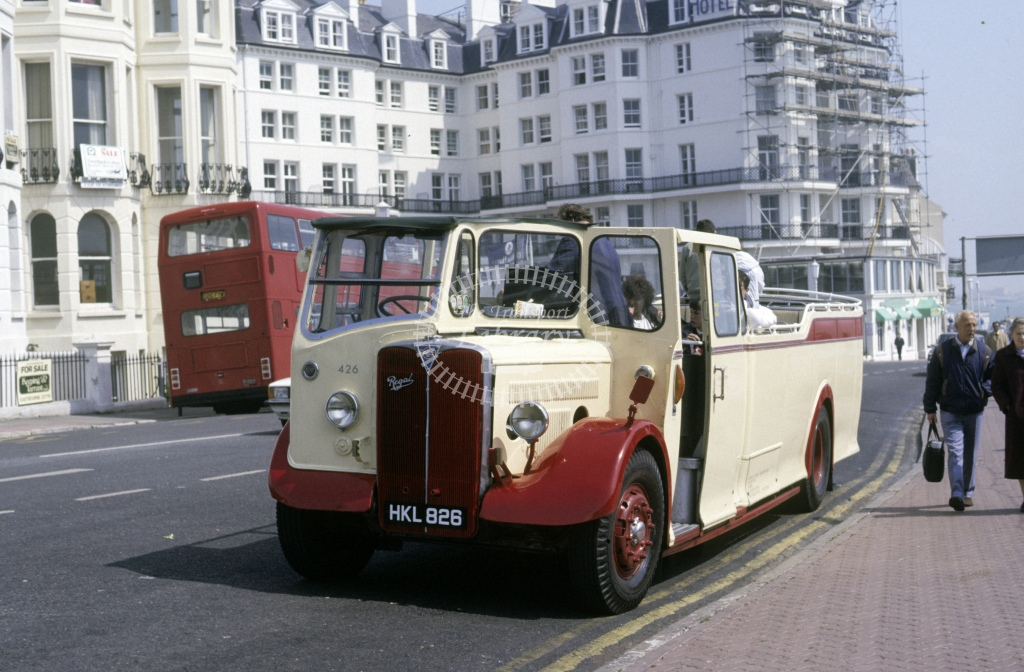 Hastings & District AEC Regal 426 HKL826(P)  at Hastings  in 1987 - May - Roy Marshall