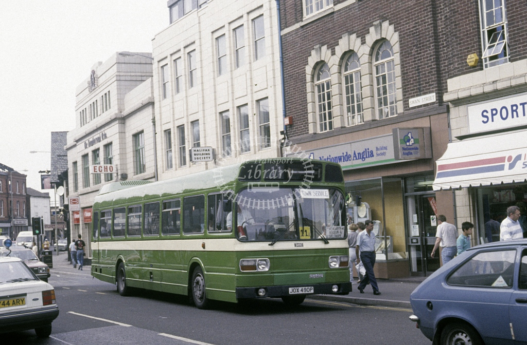 Loughborough Coach & Bus Leyland National 3752 JOX490P  at Loughborough  in 1989 - Aug - Roy Marshall