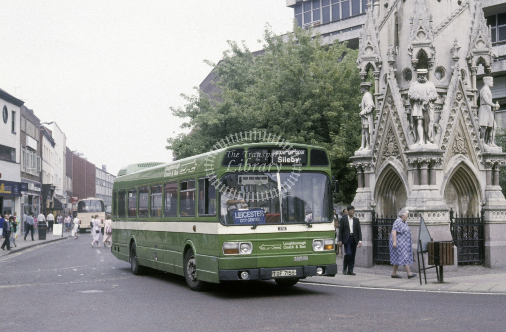 Loughborough Coach & Bus Leyland National 3771 TOF715S  at Leicester  in 1990 - Aug - Roy Marshall