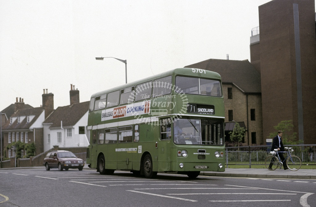 Maidstone and District Leyland PDR1A/1 5701 FKM701L at Maidstone in 1987 - May 1987 - Roy Marshall