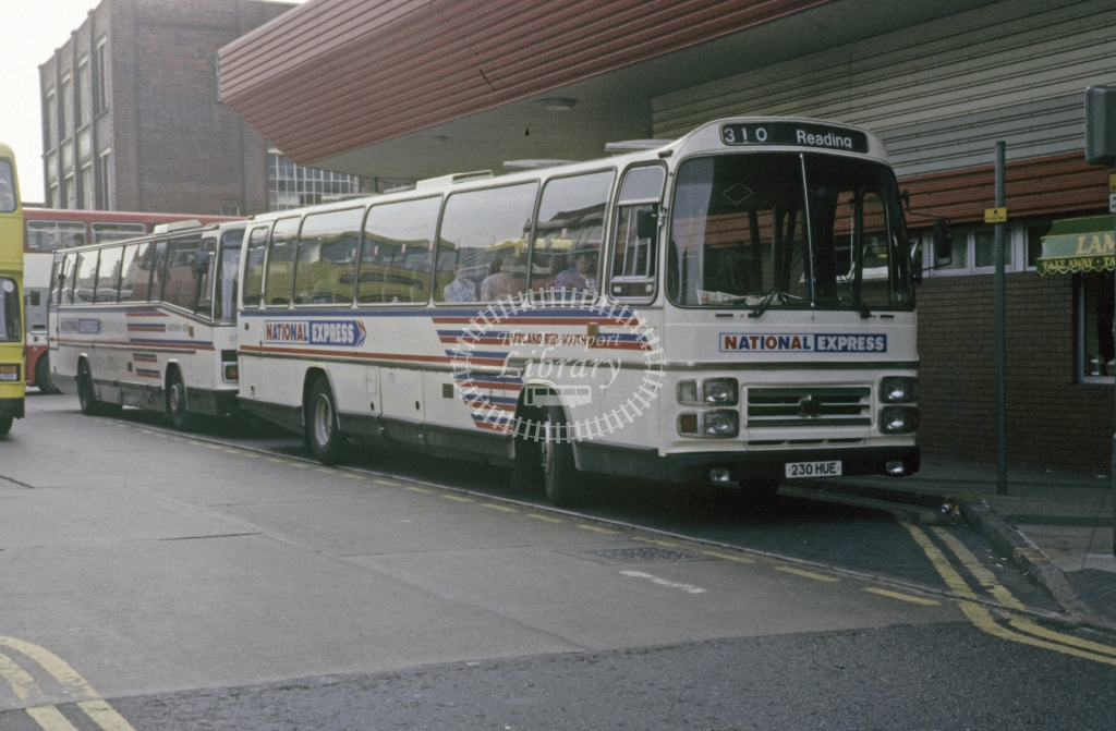 Midland Red South Leyland PSU3E 4 230HUE  at Leicester  in 1987 -  May  - Roy Marshall