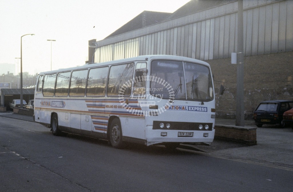 Midland Red South Leyland PSU5B 90 XCK221R  at Rugby  in 1987 -  Jan  - Roy Marshall