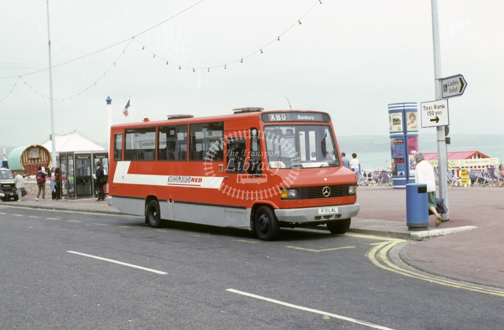 Midland Red South Mercedes 811D 400 F71LAL  at Weymouth  in 1992 -  Jul  - Roy Marshall