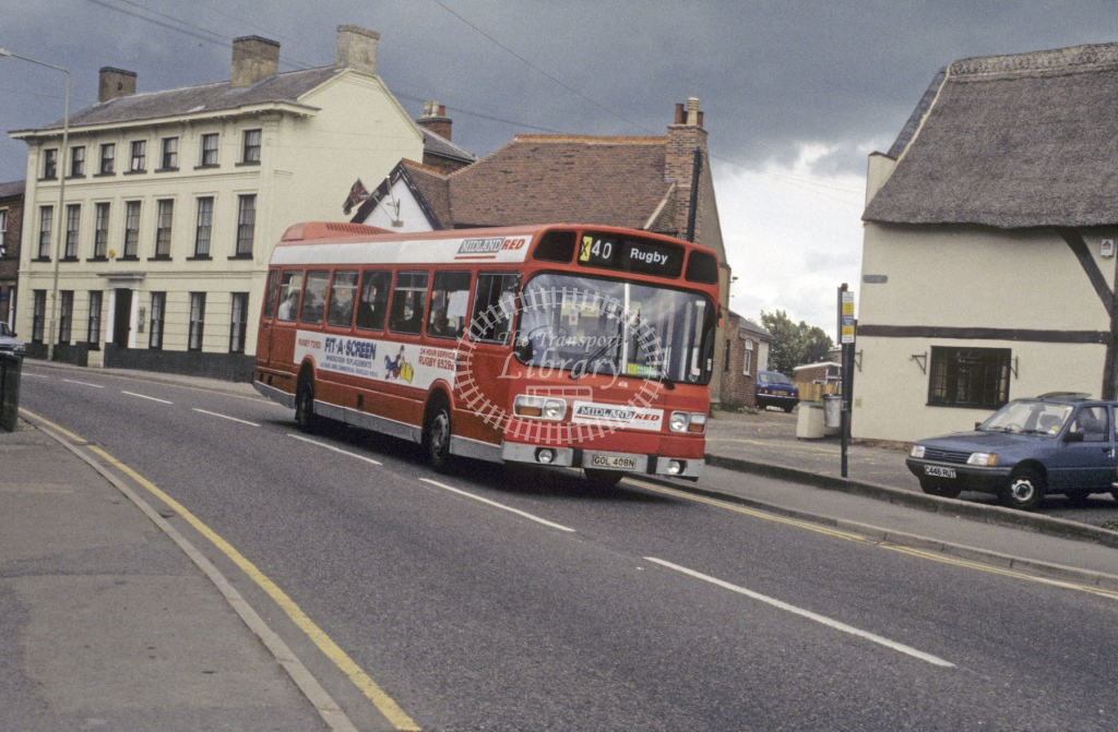 Midland Red South Leyland National 408 GOL408N  at Lutterworth  in 1990 -  Jun  - Roy Marshall