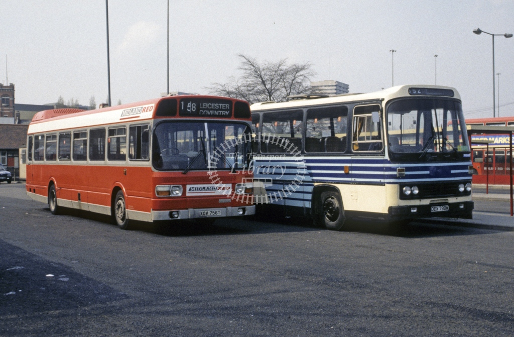 Midland Red South Leyland National 756 XOV756T  at Coventry  in 1991 -  Apr  - Roy Marshall