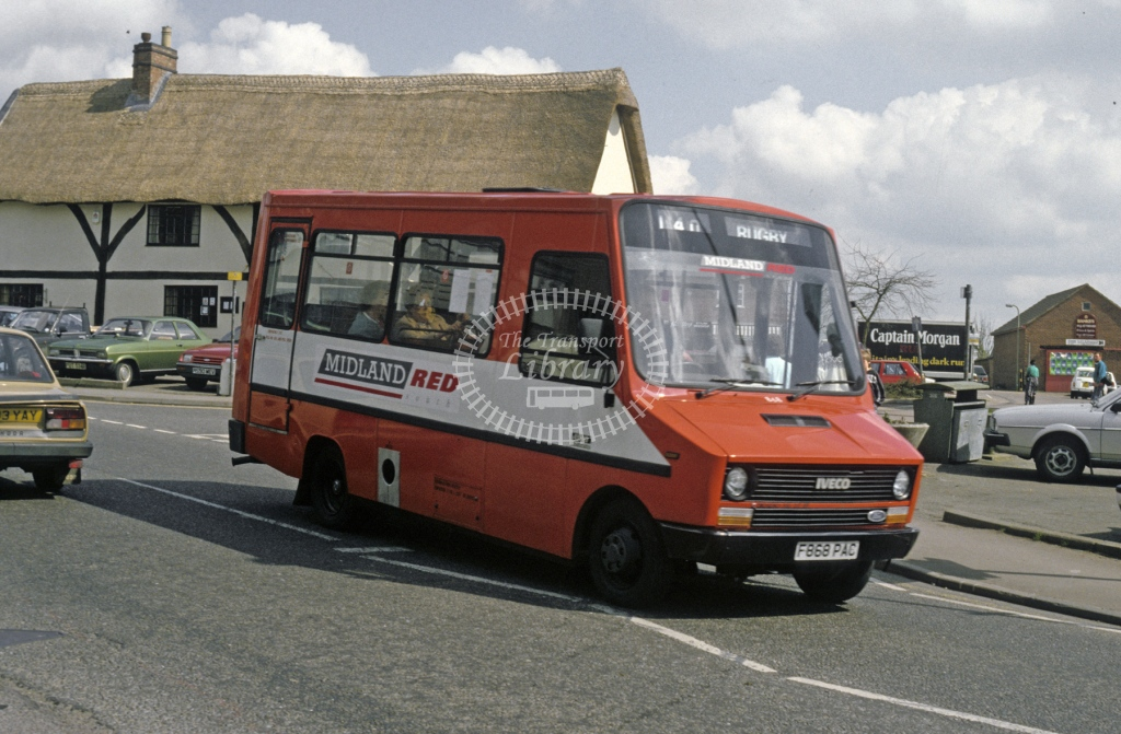 Midland Red South Fiat 49.10 868 F868PAC  at Lutterworth  in 1989 -  Apr  - Roy Marshall