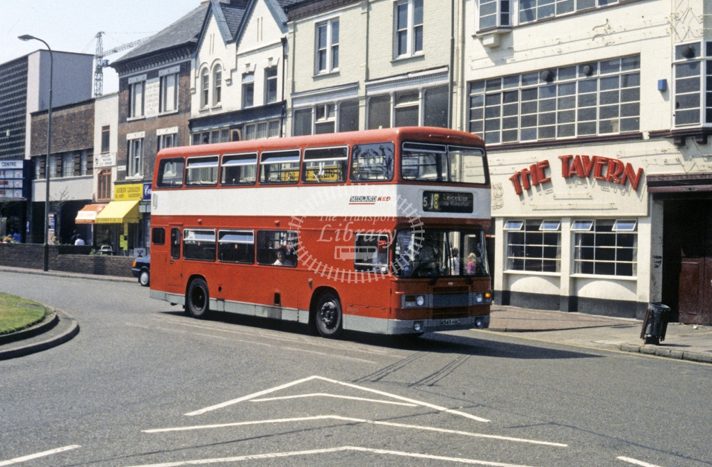 Midland Red South Leyland ONLXB 909 A549HAC  at Leicester  in 1990 -  Jul  - Roy Marshall