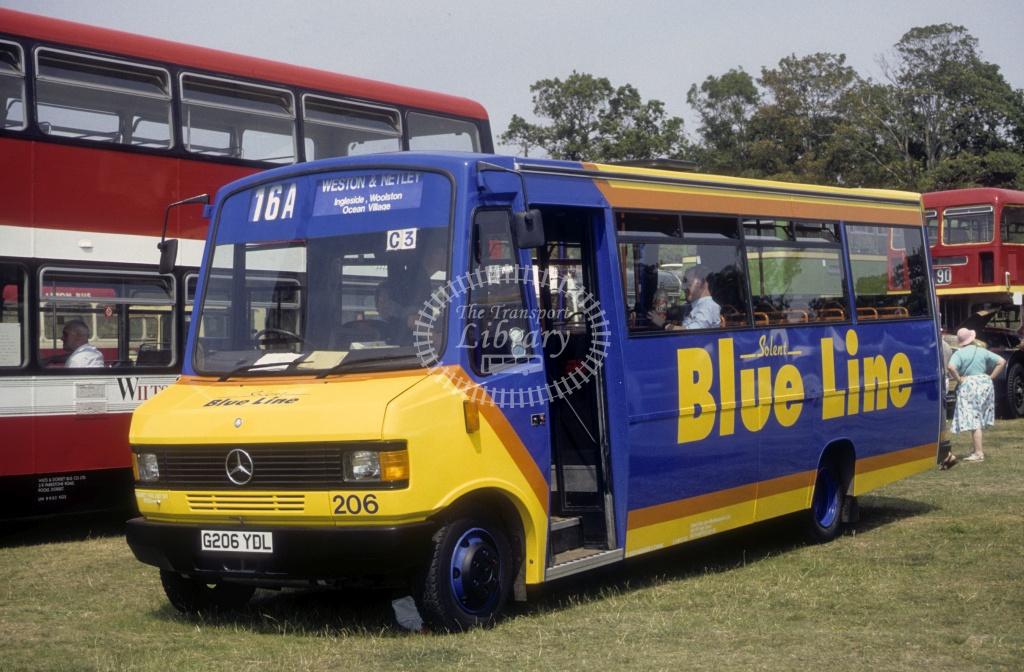 Solent Blue Line Mercedes 709D 206 G206YDL  at Netley Bus Rally  in 1990 -  Jul  - Roy Marshall