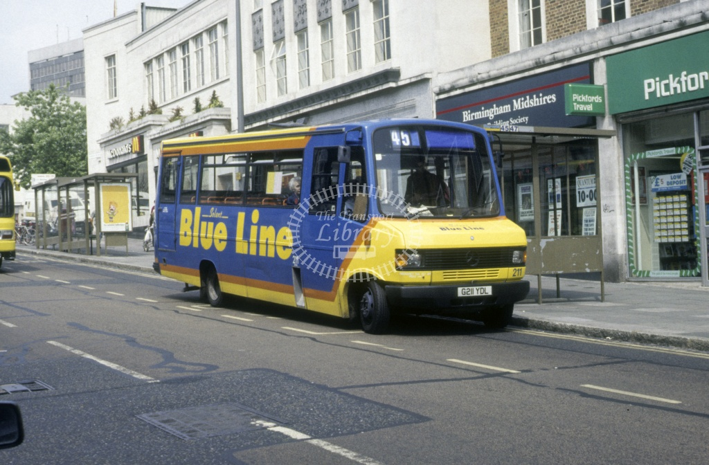 Solent Blue Line Mercedes 709D 211 G211YDL  at Southampton  in 1992 -  Jun  - Roy Marshall