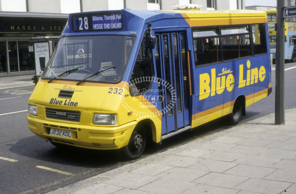 Solent Blue Line Fiat 49.10 232 J232KDL  at Southampton  in 1992 -  Jun  - Roy Marshall