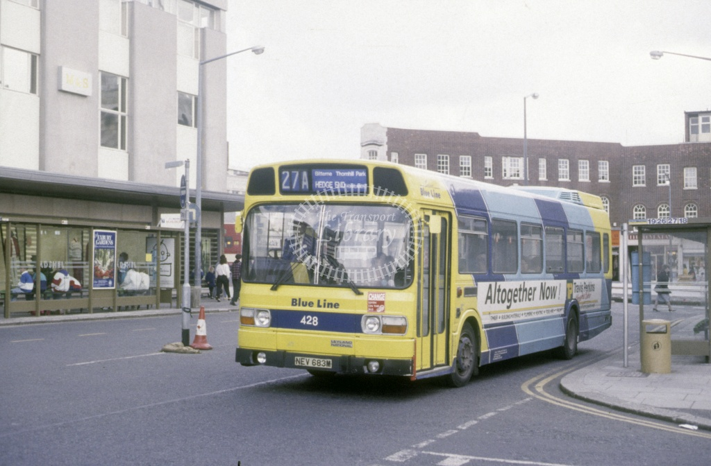Solent Blue Line Leyland Nat 428 NEV683M  at Southampton  in 1990 -  Apr  - Roy Marshall