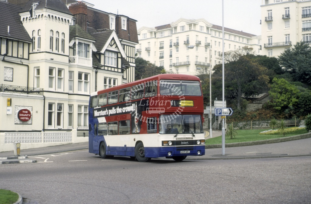 Solent Blue Line Leyland ONLX 705 A205MEL  at Bournemouth  in 1988 -  Oct  - Roy Marshall