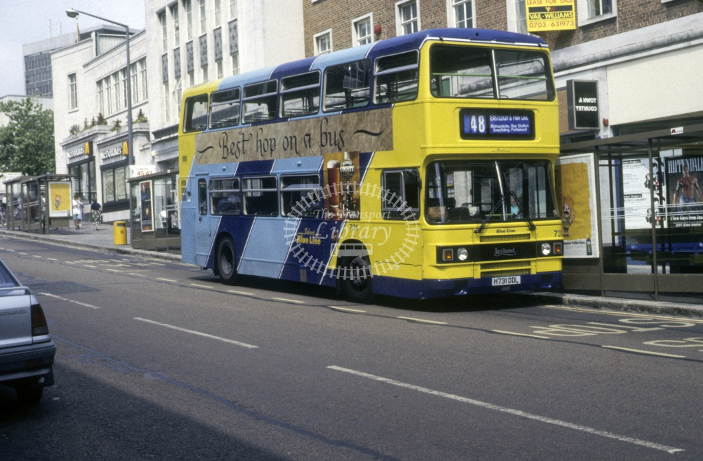 Solent Blue Line Leyland ON2R 731 H731DDL  at Southampton  in 1992 -  Jun  - Roy Marshall