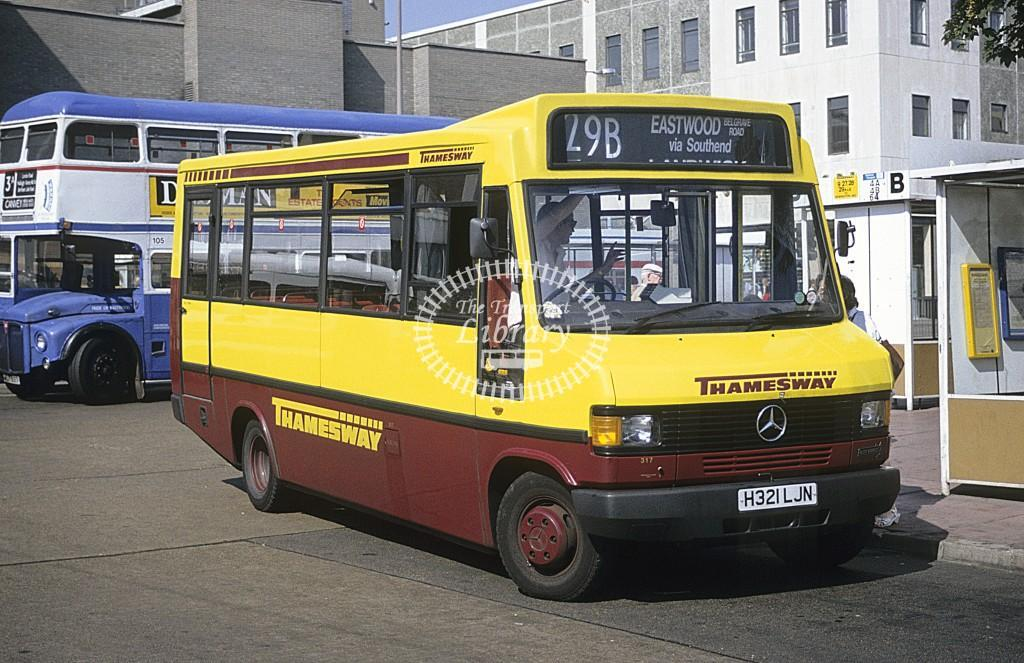 Thamesway Mercedes 709D 317 H321LJN at Southend on Sea in 1991 - Sept 1991 - Roy Marshall
