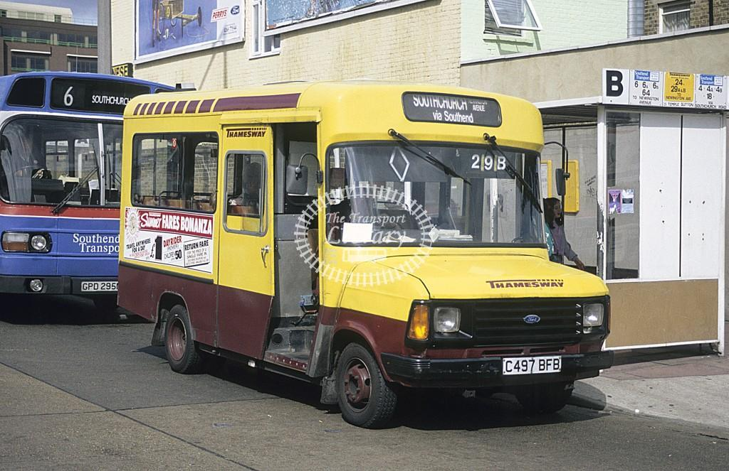 Thamesway Ford Transit 709 C497BFB at Southend on Sea in 1992 - Sept 1992 - Roy Marshall