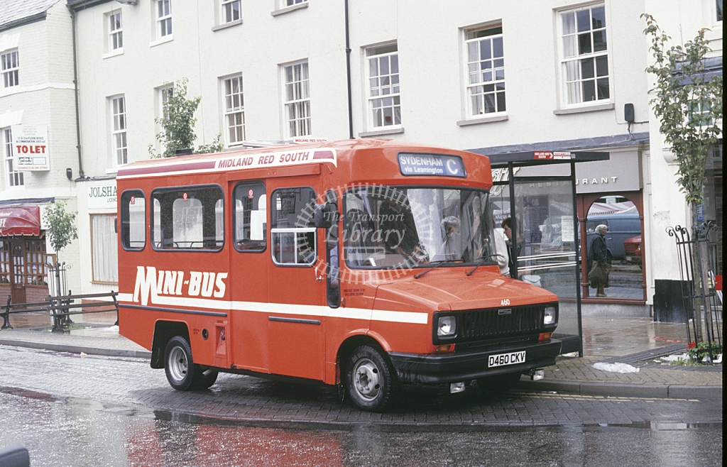 Midland Red South BLMC Sherpa 460 D460CKV  at Warwick  in 1987 -  Sep  - Roy Marshall