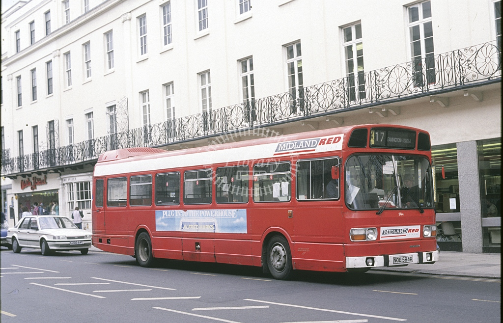 Midland Red South Leyland National 584 NOE584R  at Leamington  in 1989 -  May  - Roy Marshall