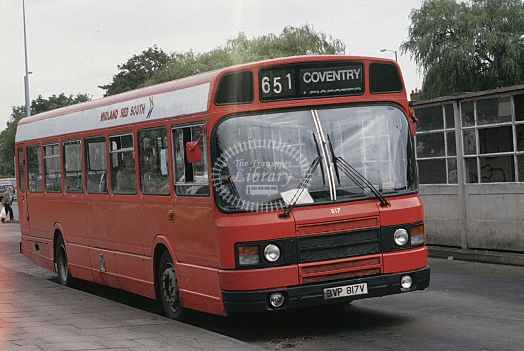 Midland Red South Leyland National 817 BVP817V  at Nuneaton  in 1987 -  Sep  - Roy Marshall