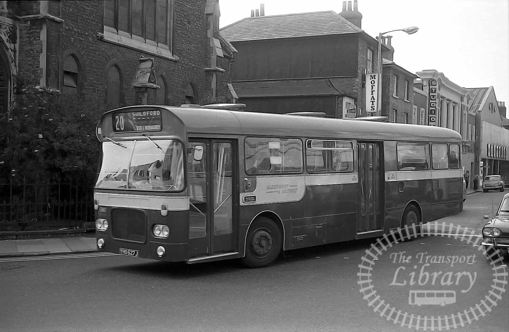 Aldershot and District Bristol RELL YHO627J at Guildford in 1972 on route 20 - Vic Zealey
