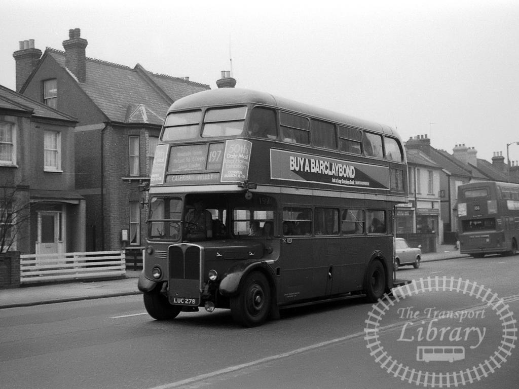 London Transport AEC Regent Class RT RT2036 LUC278 at Unknown location in 1972 on route 197 - Vic Zealey