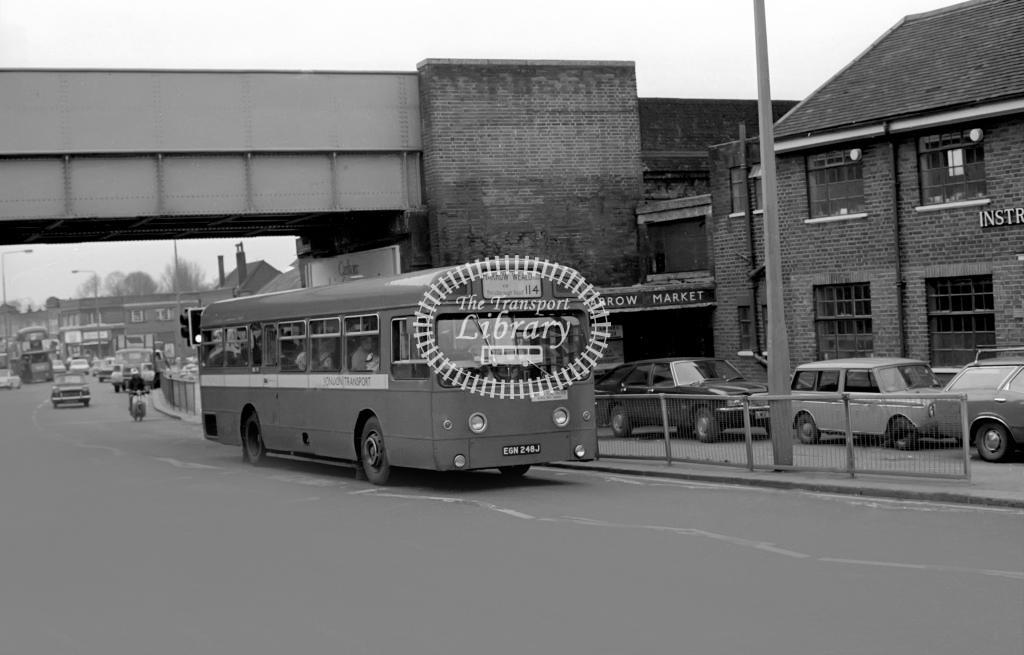 London Transport AEC Swift Class SMS SMS248 EGN248J at Unknown location in 1974 on route 114 - Vic Zealey