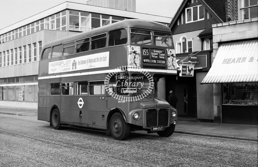 London Transport AEC Routemaster Class RM RM1399 399CLT at Unknown location in 1975 on route 155 - Vic Zealey